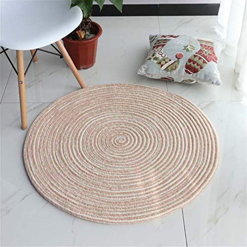 Chenille Material Soft Solid Color Round Carpet Hand Made Weave Living Room Bedroom Rug Children Play Home Decorator Floor Rug Beige Diameter 100cm
