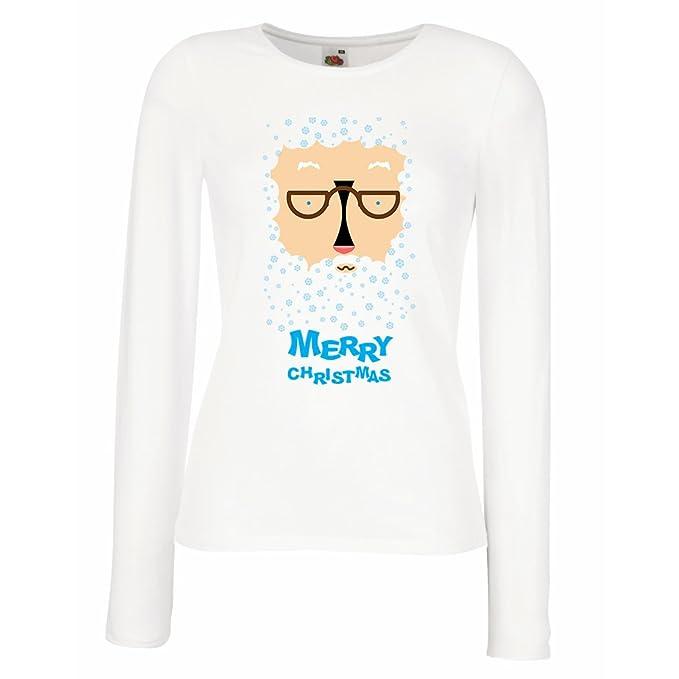lepni.me Camisetas de Manga Larga para Mujer Papá Noel, mi Graciosa Cara de: Amazon.es: Ropa y accesorios