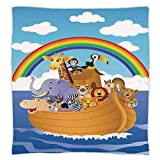 Super Soft Throw Blanket Custom Design Cozy Fleece Blanket,Noahs Ark,Cartoon Style Group of Animals in Noahs Ark Childish Cheering Design Artwork,Multicolor,Perfect for Couch Sofa or Bed