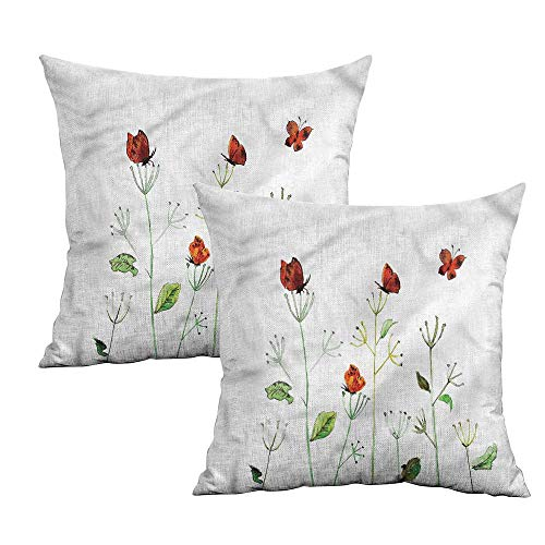 Khaki home Butterfly Square Standard Pillowcase Wildflowers Garden Summer Square Pillowcase Protector Cushion Cases Pillowcases for Sofa Bedroom Car W 16