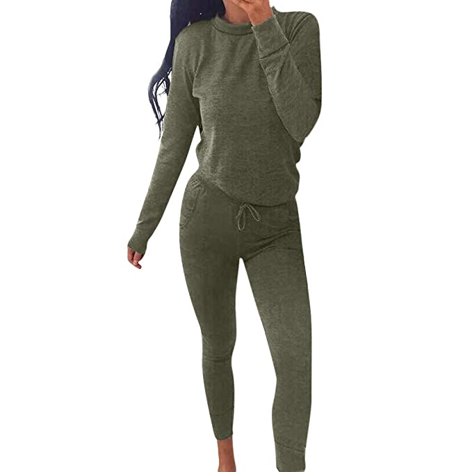 Womens Plain Two Piece 2 Pocket Set Tracksuit Ladies Long Sleeve Jogging Suit Fitness, Running & Yoga Sporting Goods