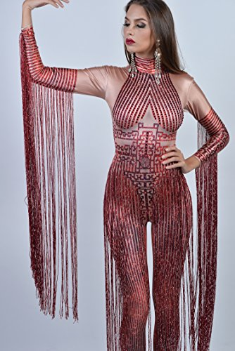 861d7b751f0 Charismatico Red 3D Print Crystallised Bodycon Drag Queen Romper Catsuit  Jumpsuit with Arm Tassels Fringe one