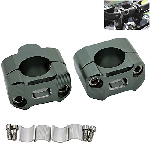 1Pair CNC Aluminum Motorcycle Handlebar Risers 28mm Adjustable,Motoparty Fat Bar Risers Mount Clamp Adaptor Fits For Most Motorcyle,Dirt Bikes,ATVs with 7/8