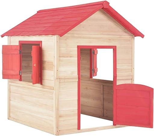 vidaXL Casa de Juegos de Niños de Madera Estructuras Juegos Aire Libre Casitas Infantiles Cobertizos Camping Caseta Acampada Jardín Terraza Roja