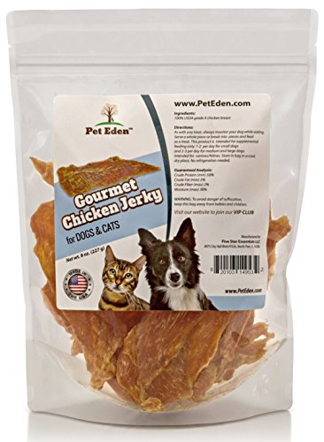 Pet Eden Natural Grain Free Chicken Jerky Dog and Cat Treats, 8 oz. Strips