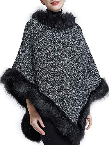 (Spicy Sandia Ponchos for Women Oversize Pullover Faux Fur Thicken Cape,Black)