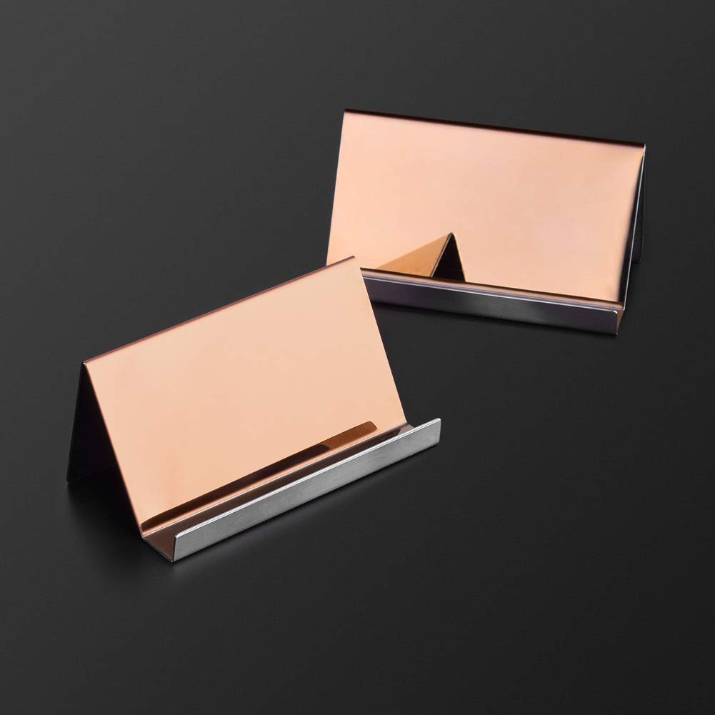 WXJ13 2 Pack Rose Gold Stainless Steel Desktop Display Business Card Holder with 1 Piece Black Cleaning Cloth by WXJ13 (Image #3)
