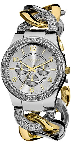 Akribos XXIV Women's AK558TTG Quartz Multi-Function Crystal Accented Twist Chain Watch