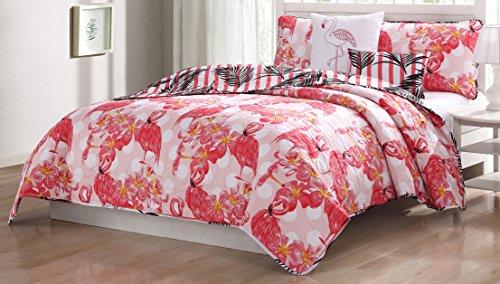 Quaint Home Flamingo 5-Piece Queen Quilt Set, Pink/Orange/Wh