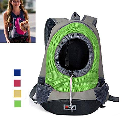 AsiaLONG Hundetasche Rucksack Atmungsaktive Haustier Rucksäcke mit Straps Netzfenster Hundetragetaschen für Kleine Hunde und Mittelgrosse Hunde Reise Umhängetasche (S, Grün)