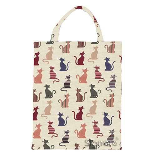 Signare Tapestry Women Fabric Reusable Foldable Shopping Bag by Signare Butterfly (ECO-BUTT) Cheeky Cat