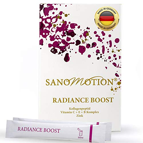 RADIANCE BOOST hochdosiert 5000mg Kollagen Peptid Beauty Drink, Vitamin B C E plus Zink, Hyaluronsäure und Elastin, Haut-Straffung, Anti-Falten, starke Nägel und Haare, Monatspack