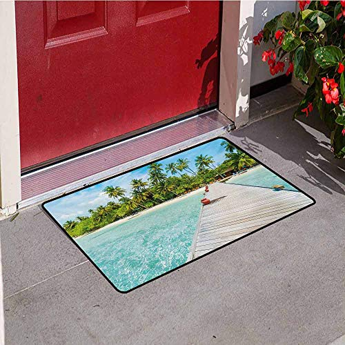Jinguizi Tropical Welcome Door mat Maldives Island with Beach Wooden Deck Palms Exotic Holiday Picture Door mat is odorless and Durable W35.4 x L47.2 Inch Aqua Turquoise Fern Green