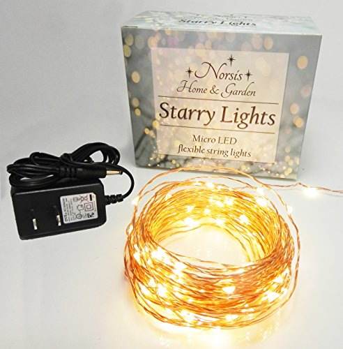 Norsis Fairy Lights - Flexible Copper Wire Starry String Lights - 100 Miniature LED Lights ...
