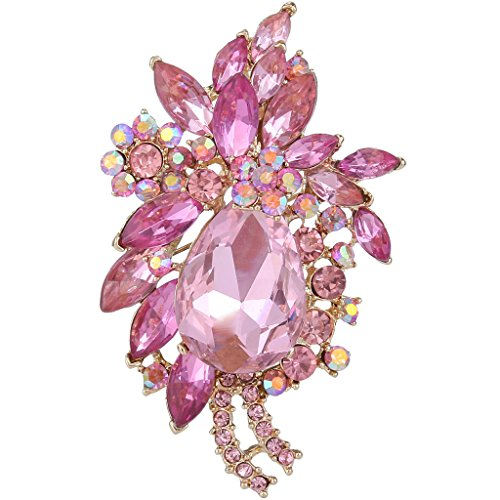 - EVER FAITH Women's Rhinestone Crystal Vintage Style Flower Teardrop Brooch Pendant Pink Gold-Tone