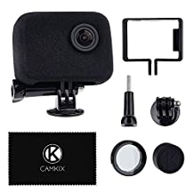 CamKix Windscreen and Frame Mount for your GoPro Camera - Reduces Wind Noise for Optimal Audio Recording - For GoPro HERO4, HERO3+ and HERO3 - UV Filter Lens Protector, Lens Cap and Cleaning Cloth (For GoPro HERO4 HERO3+ and HERO3, CamKix Windscreen and Frame Mount Kit)