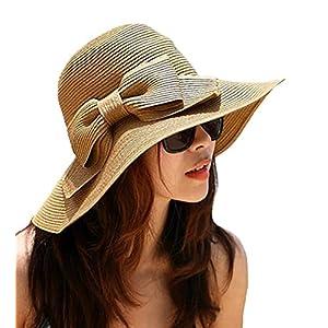 Aisa Women's Foldable Bowknot Floppy Straw Sun Hat Wide Brim Beach Sun Visor Hat Cap