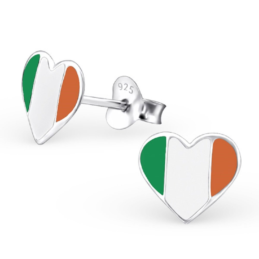 925 Sterling Silver Ireland Heart Stud Earrings 23048