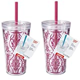copco water tumbler - Copco Minimus Tumbler with Straw, 24-Ounce, Damask Red (2)