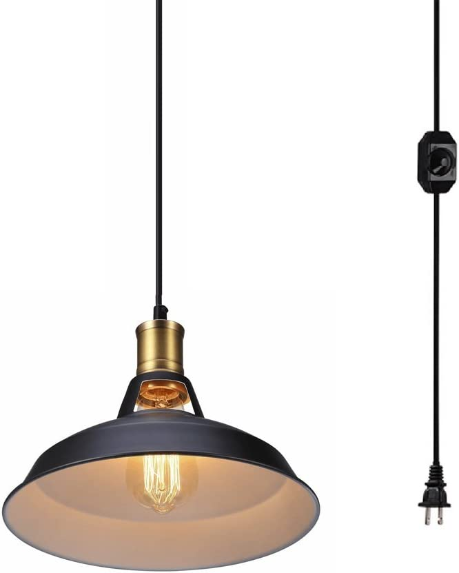 Dellemade DD00848 Plug in Pendant Light with 180 Cord and Dimmable Switch in Line