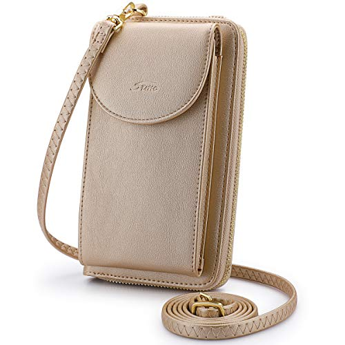 S-ZONE PU Leather RFID Blocking Cellphone Wallet Clutch Purse Zippered Crossbody Bag Phone Pouch (Gold RFID Blocking)