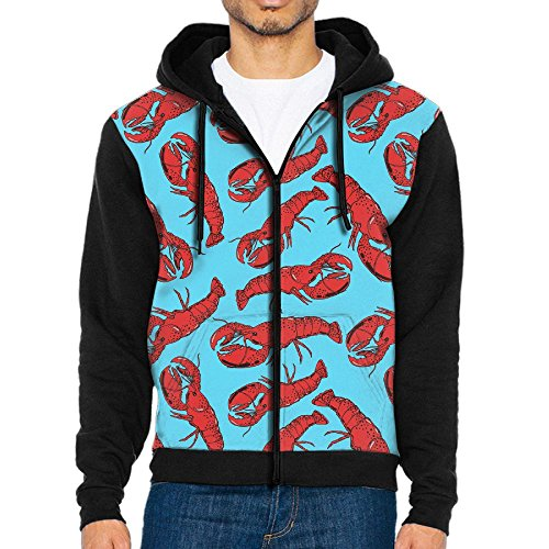 My Lobsters Funky Pullover Top Hooded Sweatshirts Workout Jackets Zippered Closure Hoodies For Men - On Clip Glasses Mask