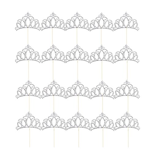 (MonkeyJack 20x Glitter Gold/Silver Princess Tiara Shaped Cake Cupcake Toppers Decoration - Silver)