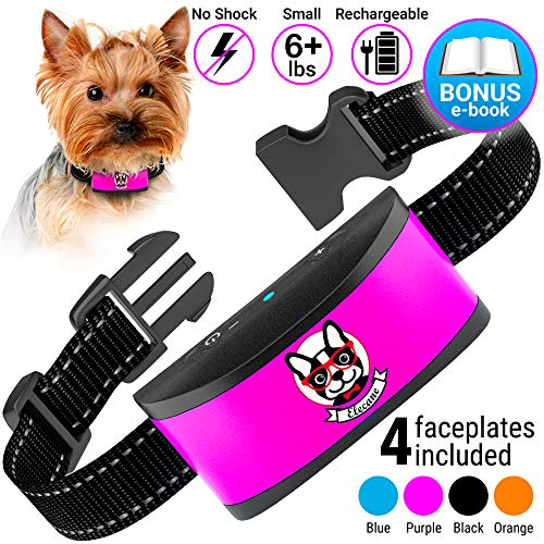 Small Dog Bark Collar Rechargeable - Anti Barking Collar For Small Dogs - Smallest Most Humane Stop Barking Collar - Dog Training No Shock Bark Collar Waterproof - Safe Pet Bark Control Device ()