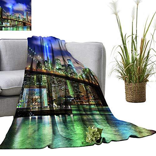 (YOYI Soft Blanket Microfiber Skyline Brooklyn Bridge and Towers Lights in NYC United Stat Puple Easy Travel)