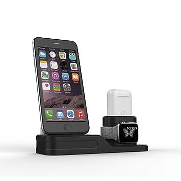 Yifen Base de Carga 4 en 1 de Silicona para Apple Watch, Apple Pencil, iPhone y Airpods con Orificios para Gestión de Cables (Cables no Incluidos)