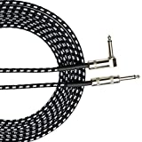 DS-Space 20 Feet Guitar Instrument Cable Right Angle 1/4-Inch TS to Straight 1/4-Inch TS 20 FT Black Gray Tweed Cloth Jacket - 20 Feet Pro Cord 20' Phono 6.3mm - SINGLE