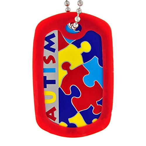 PinMart's Autism Awareness ID Necklace Dog Tag w/ Chain & Red Silencer (Awareness Dog Tag)