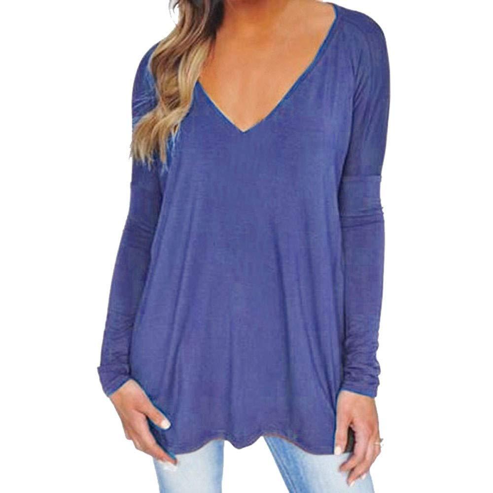 Qmber Damen Shirts Tees Tops Oberteile Oversize Pullover Sweatshirts Pulli Hoodie Elegant Hemden Langarm Blusen Tuniken, V-Ausschnitt locker lässig T-Shirt