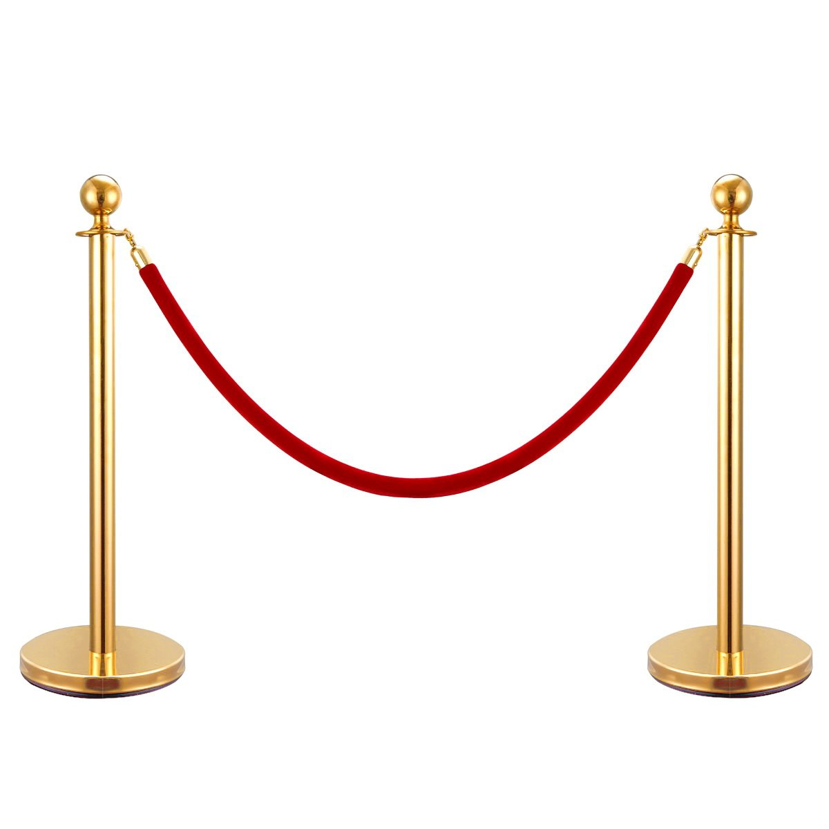 JAXPETY Round Top Polished Brass Stanchion Posts Queue Barrier, Pack of 2 Posts with Red Velvet Ropes,Gold