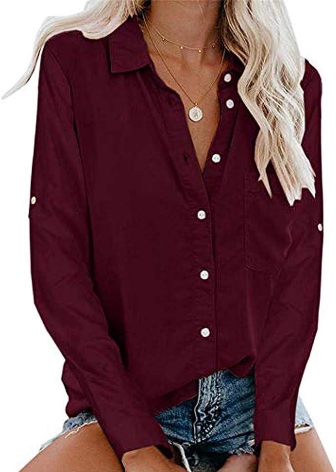 Osyard - Blusa de Manga Larga para Mujer, con Bolsillo, Talla Grande, Cuello Alto Vin S: Amazon.es: Ropa y accesorios