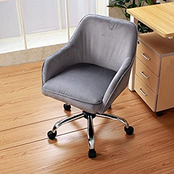 GHP Charcoal Velvet Mid-Back Padded Seat Swivel Office Chair with Lumbar Support