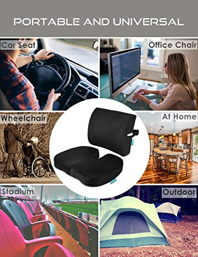 Seat Cushion Coccyx Orthopedic Memory Foam and Lumbar Support Pillow for Office Chair and Car Chair Cushion for Low Back Support, Tailbone Pain, Sciatica Relief Black Qutool by Qutool (Image #7)