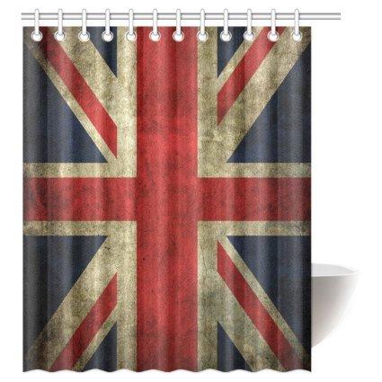 InterestPrint Custom Union Jack Waterproof Polyester Fabric 60 (w) x 72 (h) Shower Curtain and Hooks (Union Jack Shower Curtain compare prices)