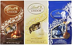 Lindt Lindor Chocolate Truffles 3 Flavor Variety Pack: (1) Lindt Lindor Hazelnut Milk Chocolate Truffles, (1) Lindt Lindor White Chocolate Truffles, and (1) Lindt Lindor Dark Chocolate Truffles, 5.1 Oz. Ea. (3 Bags Total)