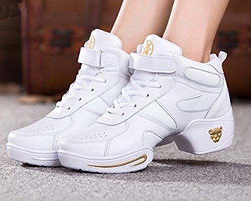 VECJUNIA Damen Athletische Turnschuhe Modernen Mesh Hip-Hop Schwarz Jazz Leder Tanzschuhe Weiß