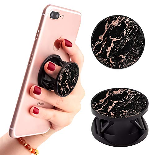 Black Marble Phone Finger Foldable Expanding Stand Holder Kickstand Hand Grip Car Mount Hooks Widely Compatible with Almost All Phones/Cases