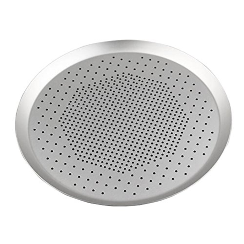 Prettyia Home Hotel Round Baking Pizza Pan Tray Holes Plate Kitchen Anodize 6.5~15inch - 15 inch
