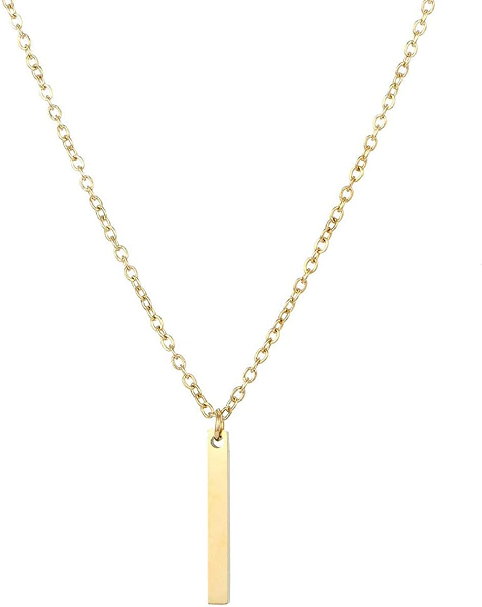 Women/'s Simple Gold Necklace Minimalist Gold Beaded Bar Necklace Stainless Steel Minimalist Beaded Choker Gold Non Tarnish Necklace