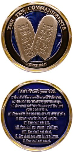Engraved Pewter Medallion (Jesus Christ Bible Religious The 10 Commandments Exodus 20:2-17 - Good Luck Double Sided Collectible Challenge Pewter Coin)