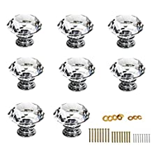 BTSKY®30mm Clear Glass Crystal Cabinet Knob Cupboard Drawer Pull Handle, Come with 3 kinds of Screws (8 PCS) (8 Pcs)