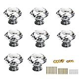 BTSKY 30mm(1.18inch) Clear Glass Crystal Cabinet Knobs Diamond Shape Pull Handle For Drawer Cupboard and Dresser, Come with 3 kinds of Screws (8 PCS)