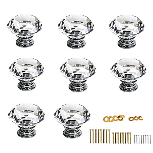 Sumnacon® 8 Pcs 40MM Clear Crystal Glass Door Knobs - Diamond Wardrobe Doorknob Crystal Glass Drawer Knobs Cabinet Cupboard Handle Pull Knobs Door Pull Handle with Screws with 3 Kinds Screws