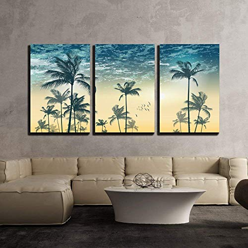 Vector Tropical Palm Tree Scene at Sunset or Sunrise Highly Detailed and Editable x3 Panels