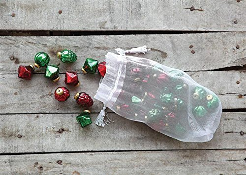 Christmas Tablescape Décor - Red & green mini mercury glass ornaments in organza bag - 36 Pieces in 3 Styles