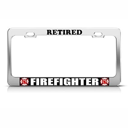 Amazon.com: Retired Firefighter Career License Plate Frame Stainless ...